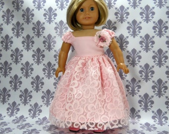 18 inch doll clothes made to fit dolls such as American Girl, Pink Lace Party Fancy Gown Dress, 06-2135