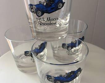 Vintage Barware Glasses ~ 1913 Mercer Raceabout Car ~ Low Ball Glasses ~ Antique Automobile ~ Gift For Him ~ Set Of Four