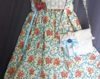 Girl's Size 5 Vintage Print Dress with Matching Purse