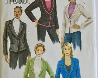 Vogue V8124 Basic Design Misses Jacket Blazer Pattern Size 18-22 UNCUT