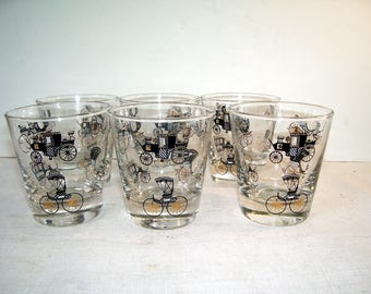 6 Libby Manhattan Carriage Drinking Glasses, Silhouette Carriage, Black on glass, Victorian Image, Bar Accessories, Home Bar, Whiskey Glass