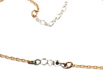 Vintage Gold Chain Anklet with Antique Crystal Rose Montees  A4961