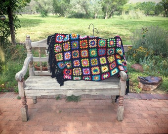 Crochet Afghan Throw Blanket Granny Square, Bohemian Decor, Retro Decor Home Decor, Lapghan
