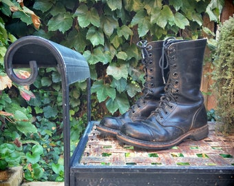 Vintage Double H Made in USA lace up black combat boots Men's Size 7 / Women's Size 8