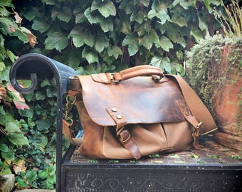 Vintage canvas and distressed leather messenger bag men or women's laptop case