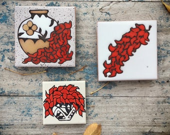 Three Small Southwestern Ceramic Tiles New Mexican Chile