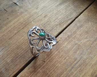 Sterling Silver Sandcast and Green Turquoise Ring Native American Jewelry