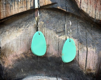 Small Slab Turquoise Earrings Native American Jewelry Santo Domingo Earring Gift for Her