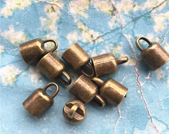 New  Brass Material 50pcs 14x8.5mm Antiqued bronze Cap/cord ends/tassel findings(hole size is 6.5mm)