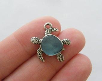 BULK 10 Turtle charms antique silver tone FF336