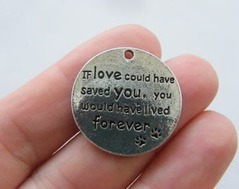 4 If love could have saved you charms antique silver tone M446