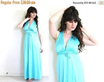 ON SALE Aqua Nightgown / 1970s Grecian Goddess Nightgown
