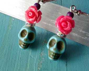 Turquoise Skull Earrings