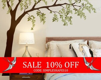 Summer Sale - Weeping Willow Tree Decal with leaves, Willow Tree Wall Decal, Leaves Wall Decal, Baby Nursery Wall Decal, Nursery Design
