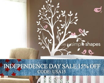 Independence Day Sale - Tree Wall Decal - THE ORIGINAL - Tree with birds and nest for Baby Nursery