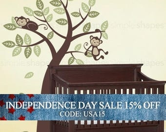 Independence Day Sale - Tree with Monkeys - Kids Vinyl Wall Sticker Decal Set