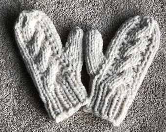 IN STOCK - Adult Teen Warm Winter Chunky Cable Knit Cream Mittens