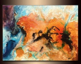 Huge Abstract Painting, Original Canvas Art Contemporary Modern Colorful Wall Art by Henry Parsinia 48x36