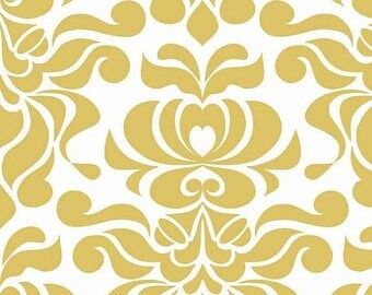 last call Valencia Damask by Lila Tueller and Riley Blake Designs Damask Yellow 1/2 yard