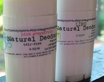 Pink Grapefruit Deodorant-Talc Free- All Natural-Really Works!