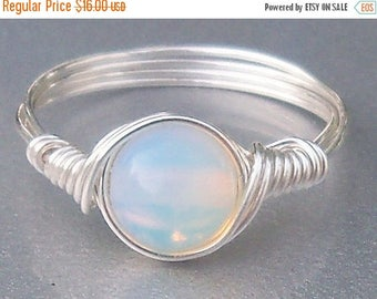 25% Off Sale Opaline Argentium Sterling Silver Wire Wrapped Ring