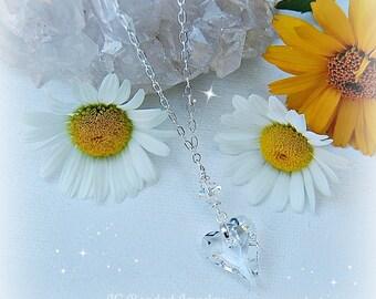 Swarovski Crystal Wild Heart Necklace, 18 Inch Silver Chain, Rearview Mirror Jewelry