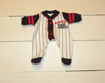 Baseball Themed Footed Sleeper - 12 inch boy doll clothes