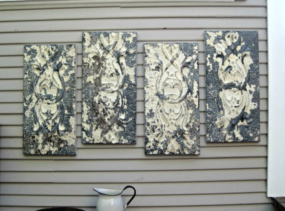 Large Wall Art Antique Ceiling Tin Tiles Distressed Vintage