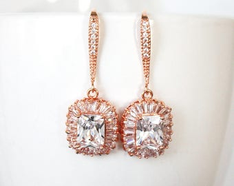 Rose Gold Square Drop Earrings, Crystal Wedding earrings Bridal Earrings, hook earrings - Stella