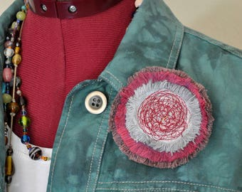 """Red Dyed Fringed Denim Brooch PIN CLIP - Grey Brown Red Maroon Wine Denim Circle Corsage Brooch 3"""" Pin - 66"""