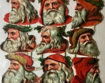 Lot Of Nine 1900's Santa Scraps German