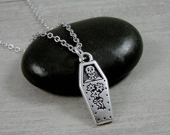 Coffin Necklace, Silver Coffin and Skeleton Charm on a Silver Cable Chain