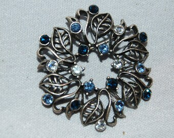 Cobalt Blue Brooch  / Rhinestone / Silver Tone / Sparkle /Old Jewelry / Vintage
