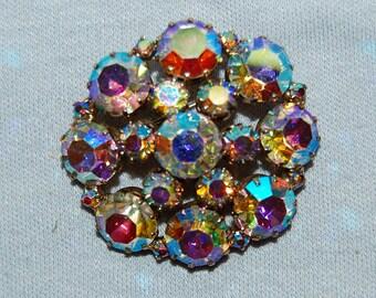 Large Rhinestone Brooch, Signed Karu Arke, Designer Aurora Borealis, Vintage old jewelry