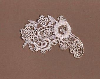 Hand Dyed Venise Lace Applique Edwardian Floral Paisley Aged Blush