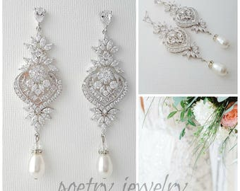 Bridal Earrings, Long Crystal Drop Earrings, Wedding Jewelry, Swarovski Pearls, Crystal Chandelier Wedding Earrings, Maya