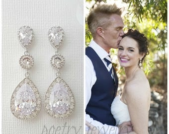 Bridal Earrings, Bridal Crystal Earrings, Wedding Jewelry, Large Pear Cut Cubic Zirconia,Drop Wedding Earrings , Evana