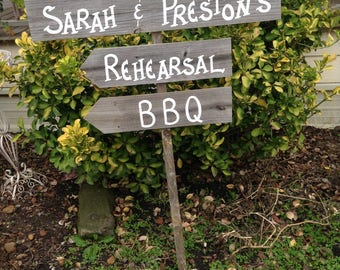 Triple Wood Board Rustic Rehearsal BBQ Event  Wedding Sign Bridal Personalized Names  Ceremony Reception Directional Arrow