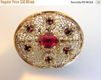 ON SALE Lovely Vintage 1930's Art Deco Czech Ruby Glass Brooch