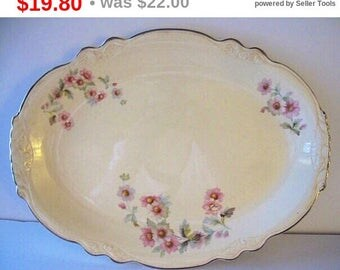 Virginia Rose Homer Laughlin Large Platter Mid Century China Estate Find Shabby Chic Pink Flowers