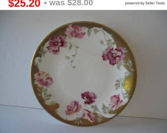 L Bernardaud Limoges D & C France Pink, Gold, White Plate Estate Find