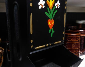 Tole painted Match Holder black metal with hand painted floral design Black