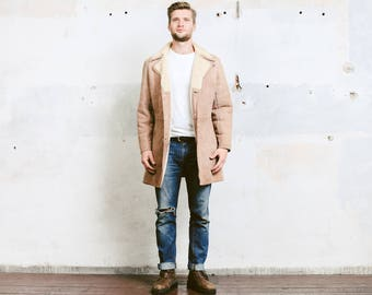 Suede Sheepskin Coat . Mens Vintage 70s Sherpa Coat Winter SUEDE Leather Beige Jacket Overcoat Outerwear Long Jacket . size Large
