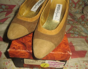 1980s Enzo Angiolini 3 tone brown suede leather pumps 80s   sz 5.5