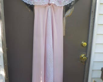 70s  pink with eyelet lace  caplet  butterfly wings collar maxi dress