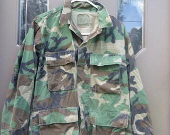 vintage  hot weather  woodland Camouflage Four Pocket USA  Army Jacket Camo BDU   jacket sz small