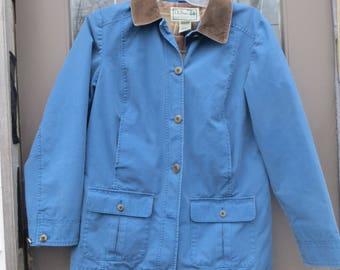 Vintage LL Bean Field Coat Jacket.BLUE cotton Canvas  w/ Corduroy Trim & Flannel Lining.  Barn Chore Coat, Camp Jacket,  womens med