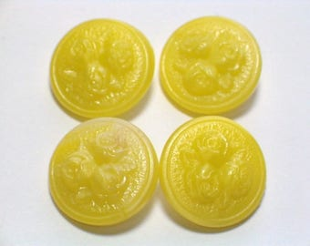 Yellow Buttons Vintage Glass Molded Rose Top Design 18mm Set 6 Sewing Embellishment Buttons