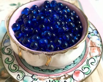 Antique 5mm Half Drilled Balls,Vintage Sapphire Beads,Capri Blue beads, Glass Eyes, Solid Eyes,Marbles, German,Belgard & Frank #1370C