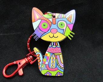 Cat Keyring with lobster clasp, colorful cat keychain with bright red lobster clasp never gets lost in your purse